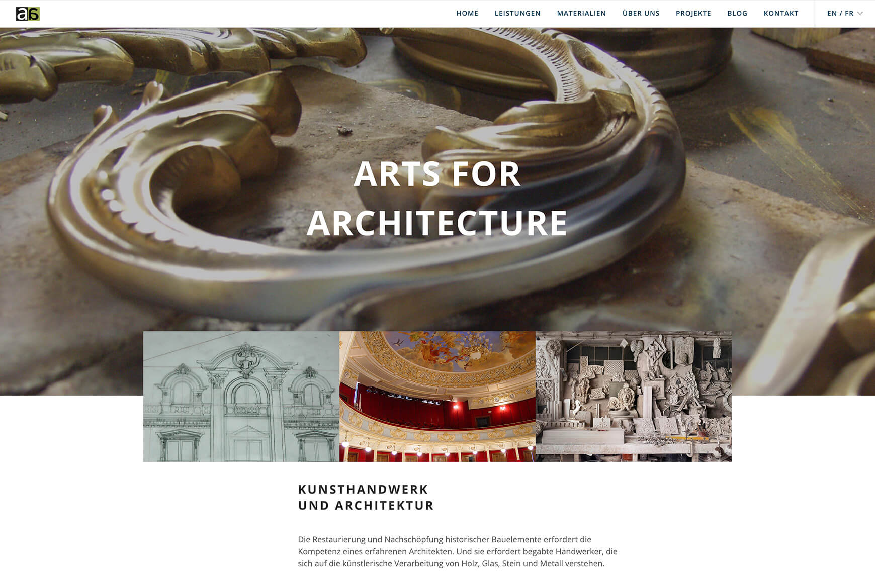 Webseite Arts for Architecture